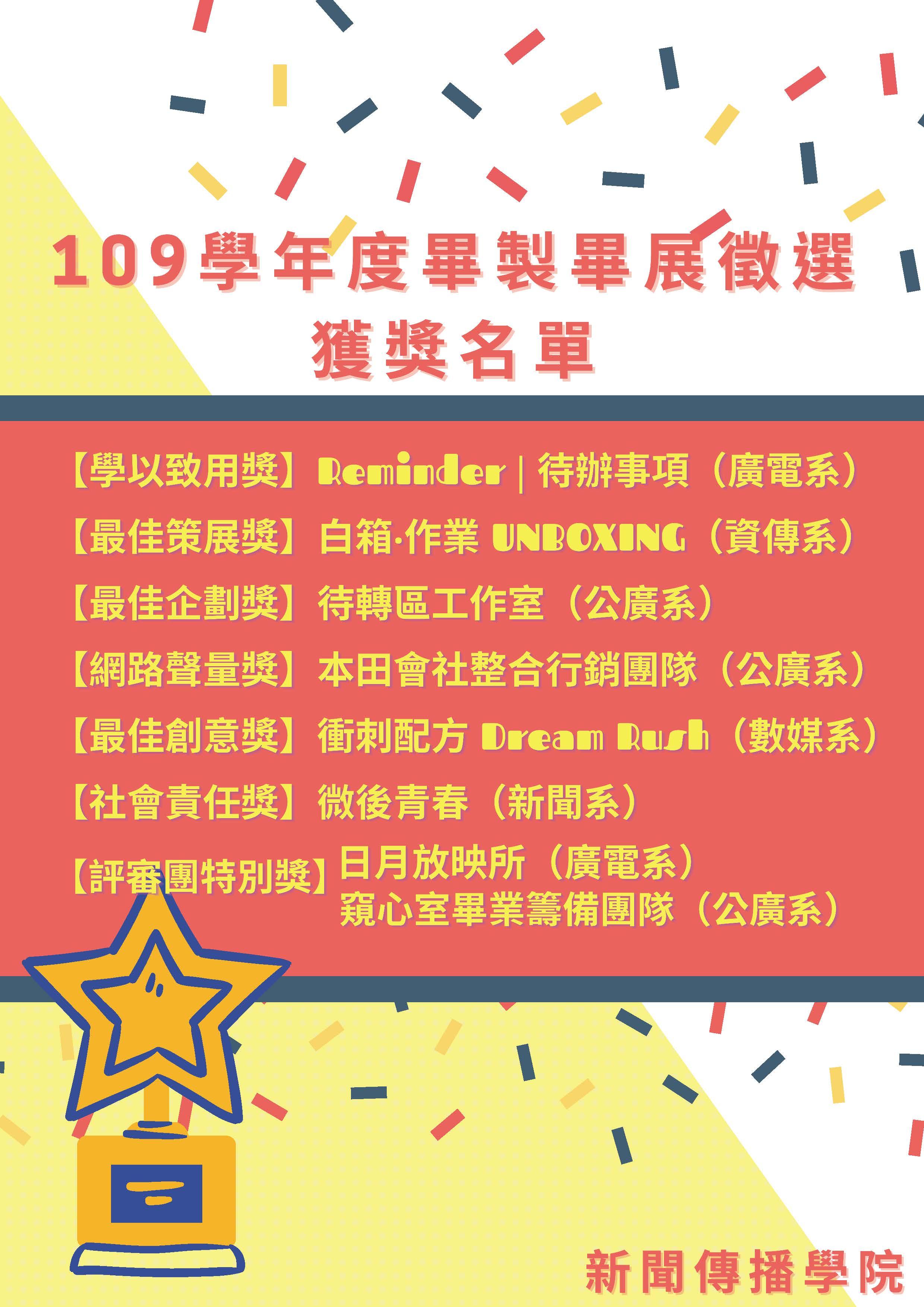 109學年度畢製畢展徵選 獲獎名單